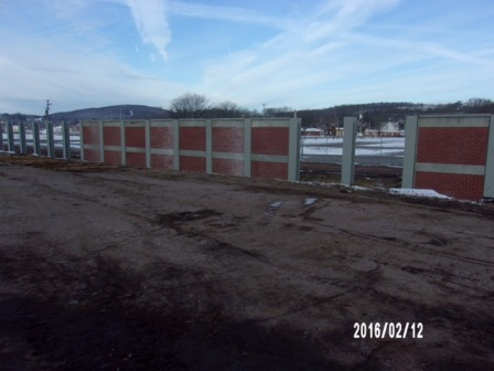 Floodwall construction at Bloomsburg Fairgrounds, dated February 12, 2016